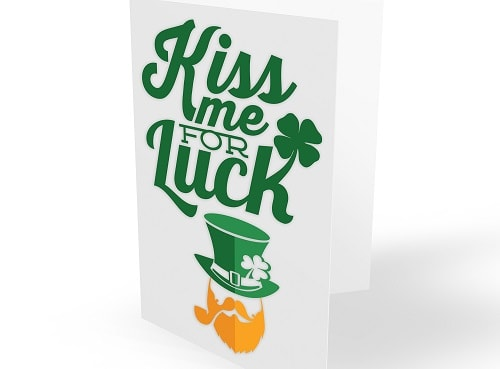 kiss me for luck st. patty's day card concept