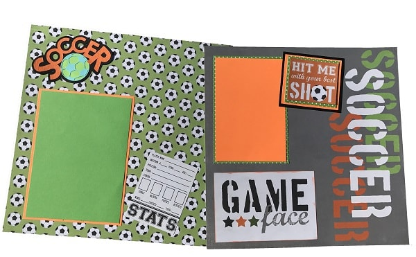 completed soccer scrapbook layout design