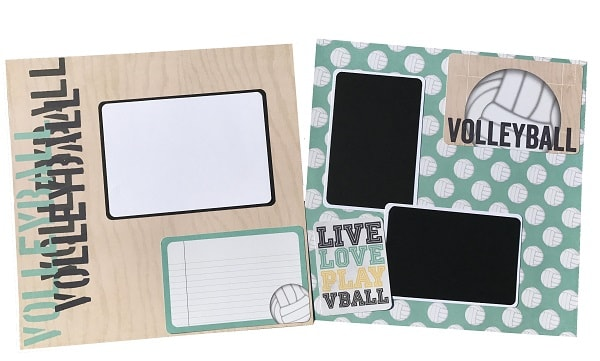 completed volleyball scrapbook layout design