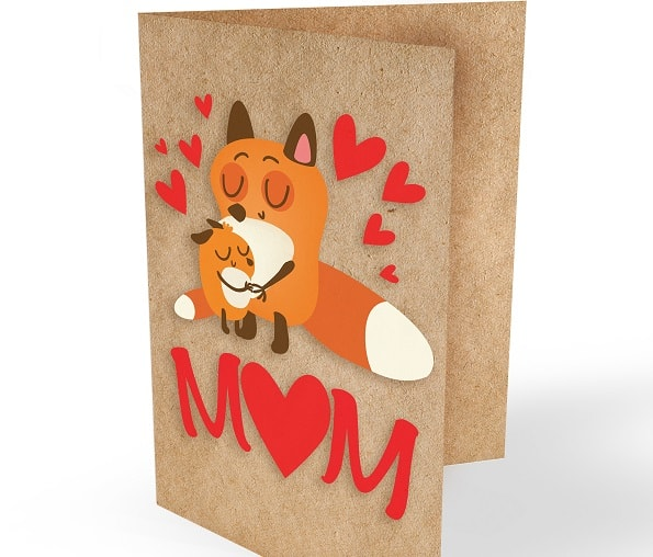 mom fox mother's day card concept