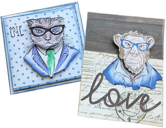 sizzix hipster project ideas - completed card designs