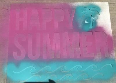 Heidi Swapp Chalk Art Happy Summer stencil in action