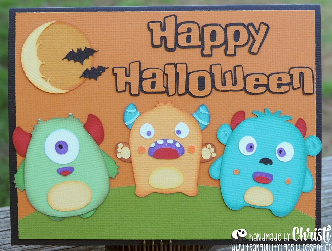 front view of little wild things halloween card completed