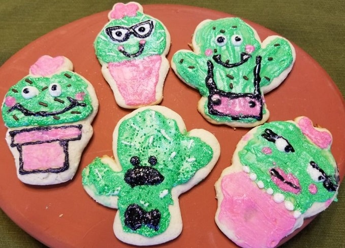 finished cactus sugar cookie designs