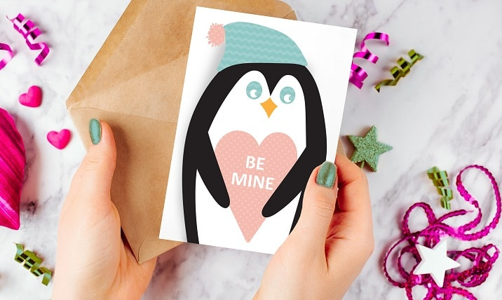 penguin be mine card project completed