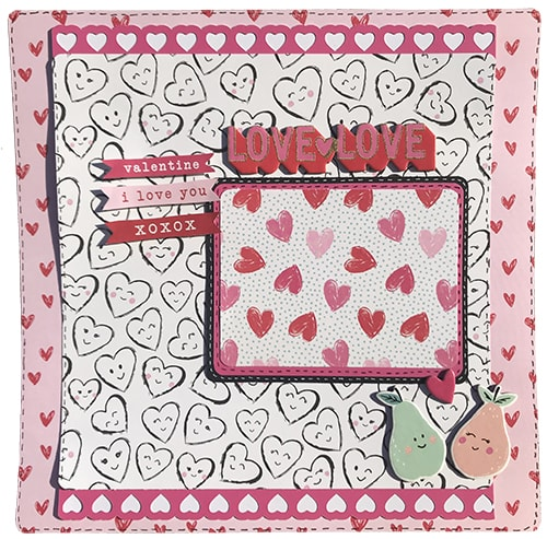 completed valentine's 2018 scrapbook layout