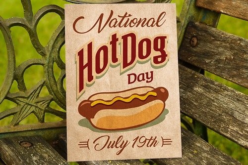 new 2018 hot dog day card concept example