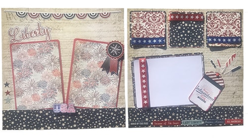 layout made with the red white & blue photoplay scrapbook collection kit