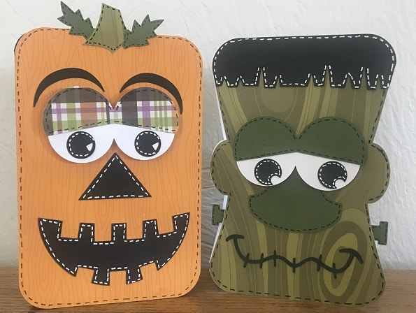 frankenstein and pumpkin halloween card design completed