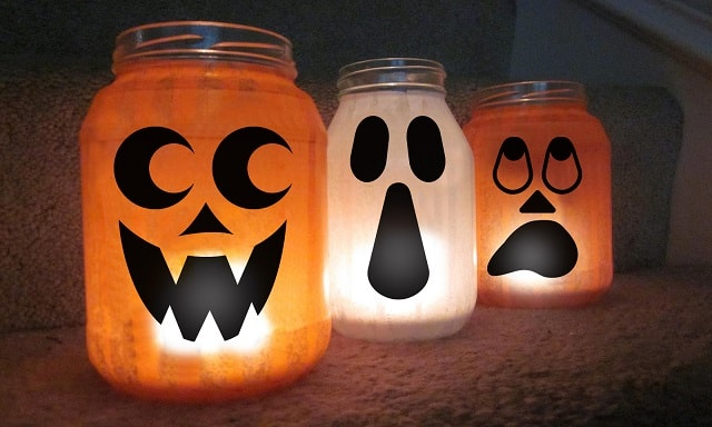 jack o lantern and ghost halloween jar wrap design concepts