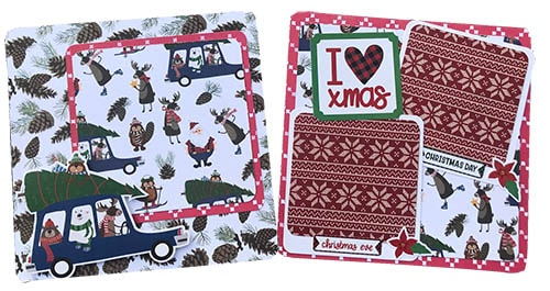 pages 7 and 8 from the mini Christmas scrapbook album