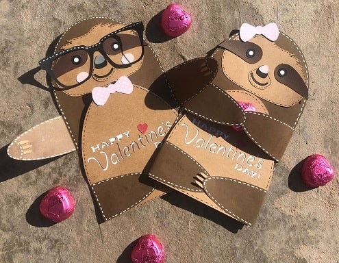 valentine sloth card SVG design completed project