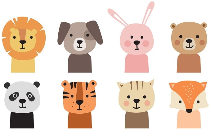 easter animals icons design concepts