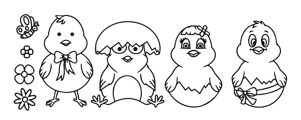easter foil chicks hatching design concept