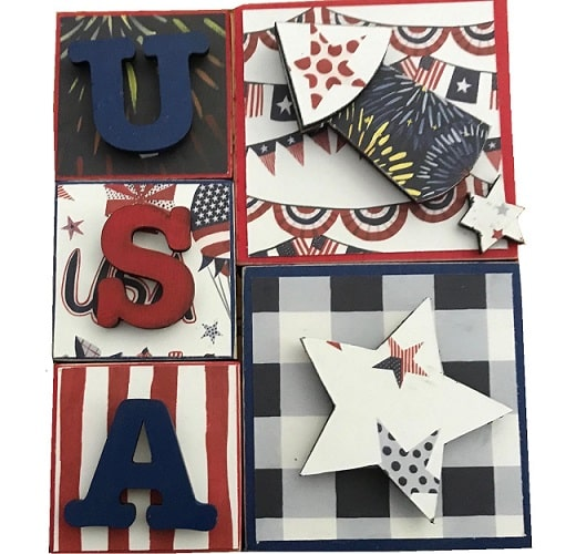 4th of july foundations decor USA blocks project completed