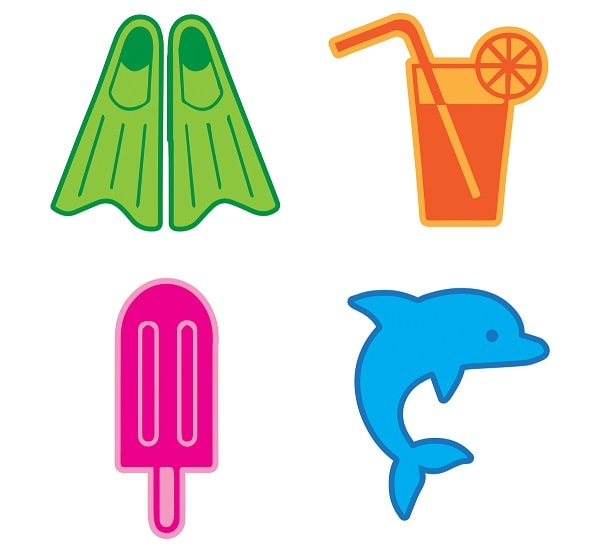 summer beach icons svg design concept