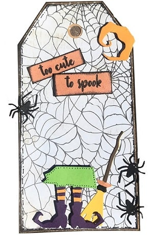 halloween tag made using the frightful things thinlits die set
