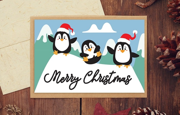 christmas penguins card design download concept
