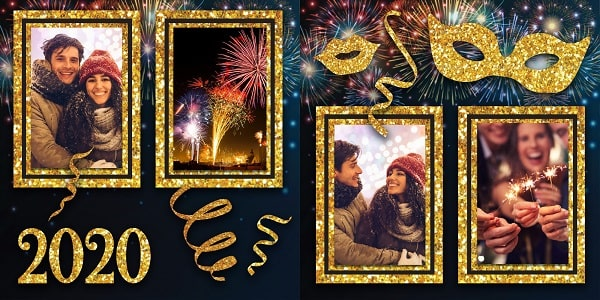 new year 2020 scrapbook layout SVG concept