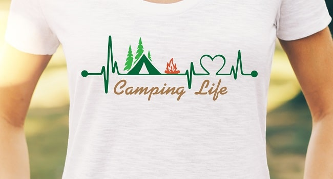 camping life heartbeat t-shirt design concept