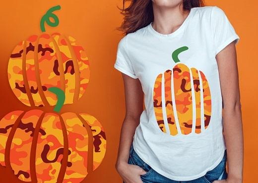 camouflage pumpkins t-shirt svg design concepts