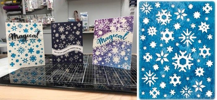 completed sizzix arctic thinlits die set card projects