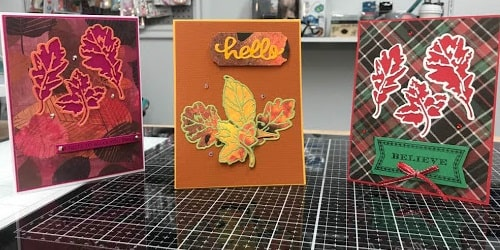 leaf print thinlits card projects completed