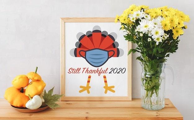 still thankful 2020 thanksgiving card design concept