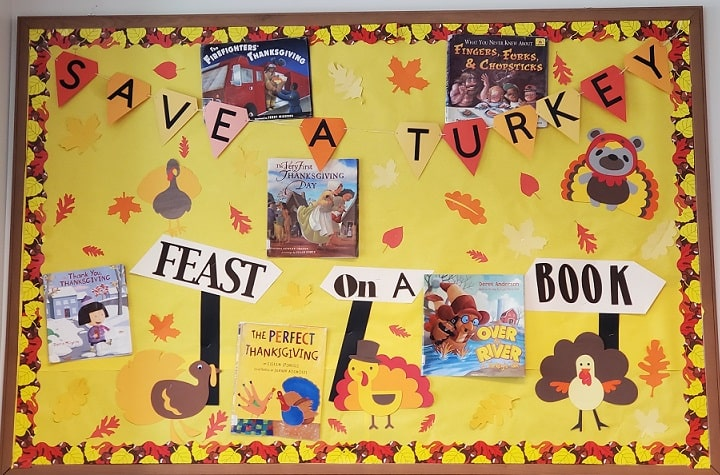 thanksgiving turkey school bulletin board project completed