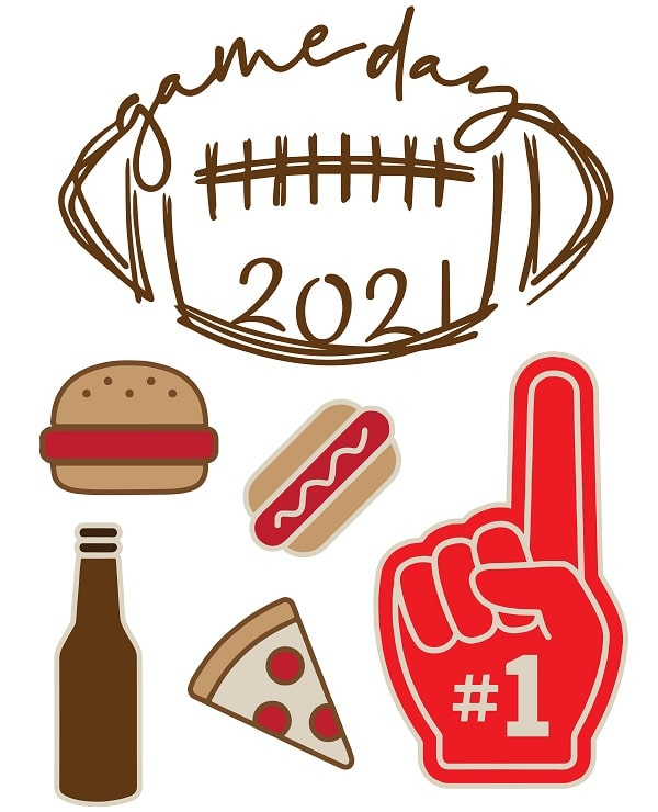 super bowl game day 2021 party icons concept