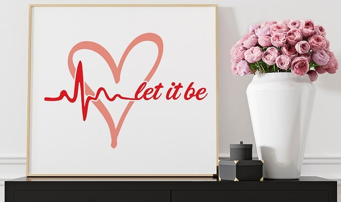 let it be heart print SVG download concept
