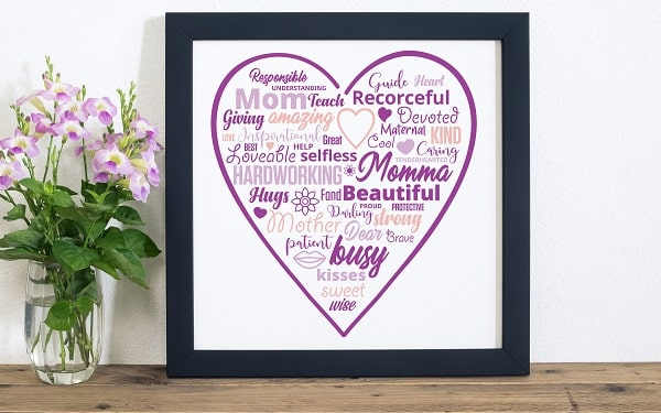 mothers day word cloud print svg design concept