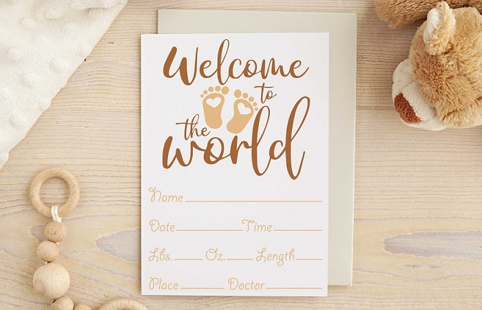 welcome to the world card svg design concept