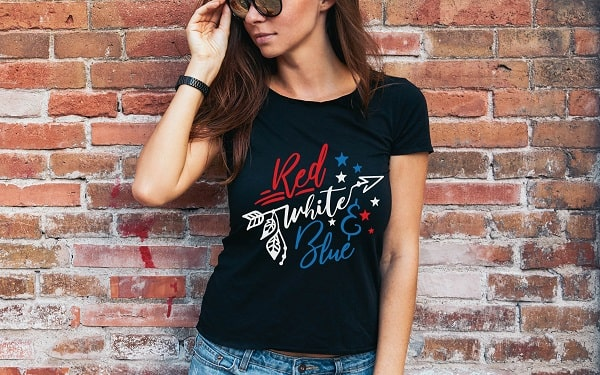 red white and blue svg design concept for t-shirt