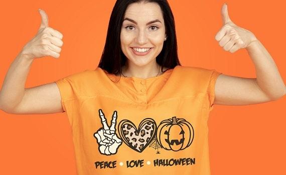 peace love halloween svg t-shirt design concept